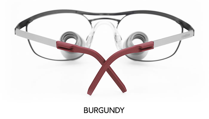 examvision temple tips burgundy