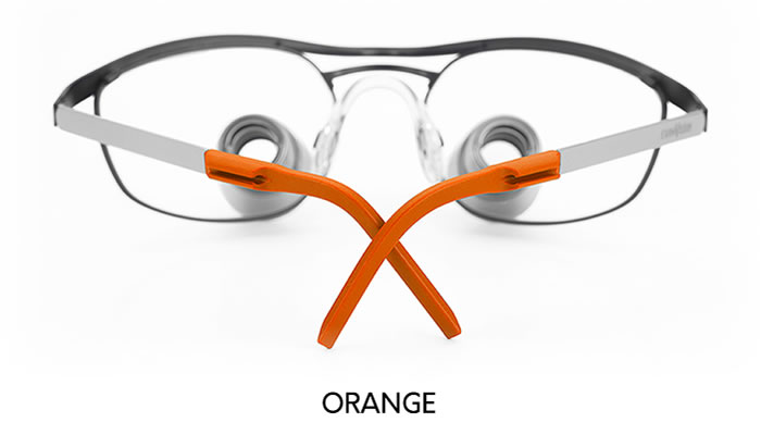 examvision temple tips orange